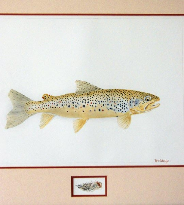 Profile of a brown trout with painted partridge feather inlay