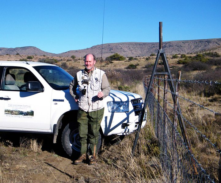 Alan_Hobson_with_one_of_the_stiles_that_he_has_built_to_assist_fly_fishers_in_the_Karoo